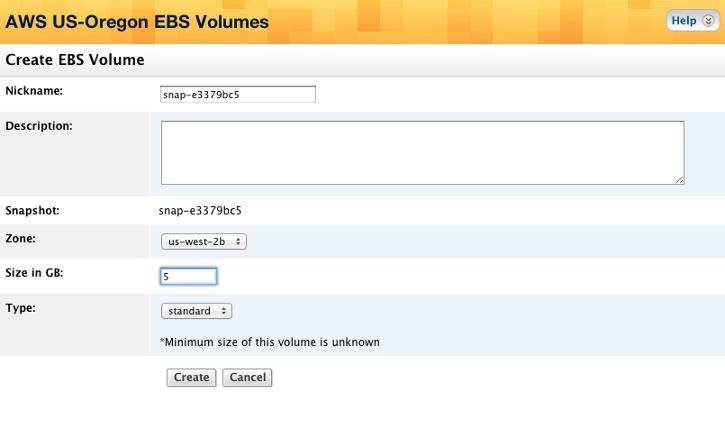 EBS Snapshots - Actions